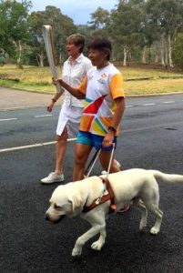 Walking with Kerry and Comet in the Queen's Baton Relay 2018