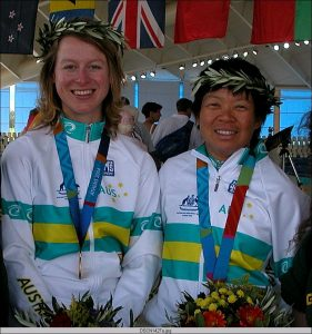 Lindy and Janelle with gold medals, 2004 Athens Paralympics