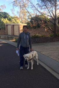 Lindy and I setting out for morning walk on first day of Pawgust
