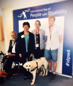 Lindy and Comet at the International Day of People with Disability event at Parliament House