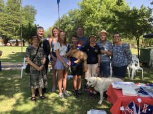Lindy and Comet with her family along with the Mayor and friend Polly