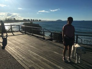 Recovery walk with Lindy on the boardwalk overlooking the Sunshine Coast