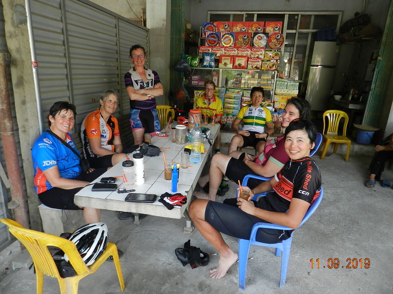 Sitting on chairs after final ride in Vietnam