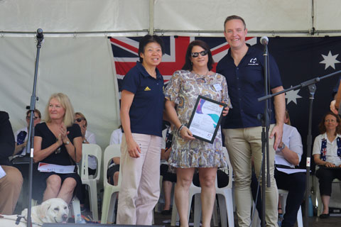 Lindy presenting Australia Day awards for Wollondilly Shire Council with Comet supervising.