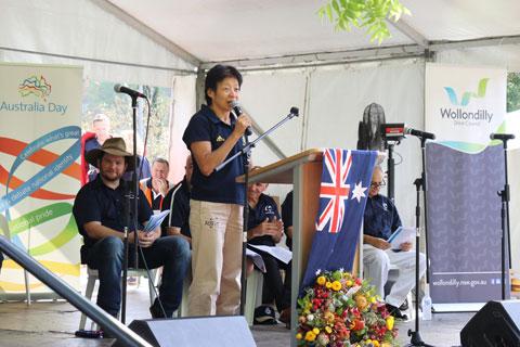 Lindy presenting her Australia Day Ambassador speech